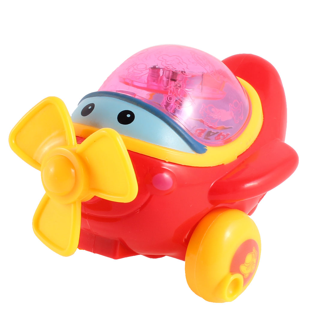 Multicolor Red Light Plastic Pull String Cartoon Airplane Toy for Child