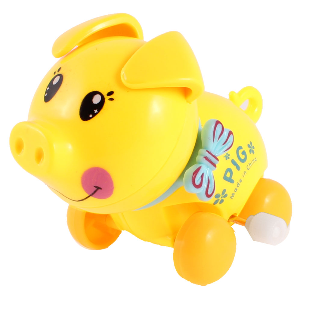 Child Yellow Baby Blue Plastic Headshake Pig Wind Up Design Clockwork Toy