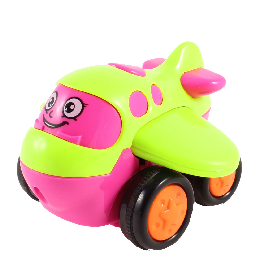 Fuchsia Yellow Green Black Plastic Cartoon Airplane Toy for Kids