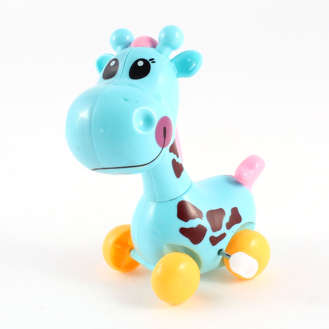 Blue Yellow Plastic Wind Up Design Clockwork Cartoon Giraffe Toy for Child
