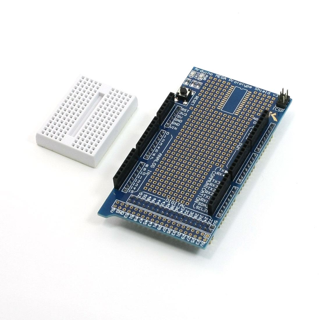 Prototype Shield V3 Expansion Board w Miniature Breadboard for Arduino Mega