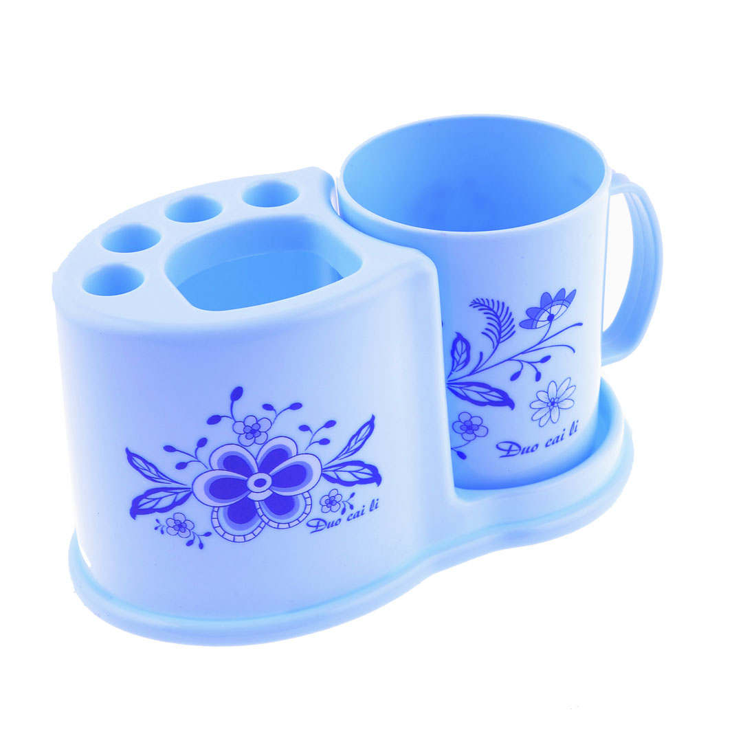 Flower Print Cyan Toothbrush Toothpaste Plasctic Container Holder w Cup