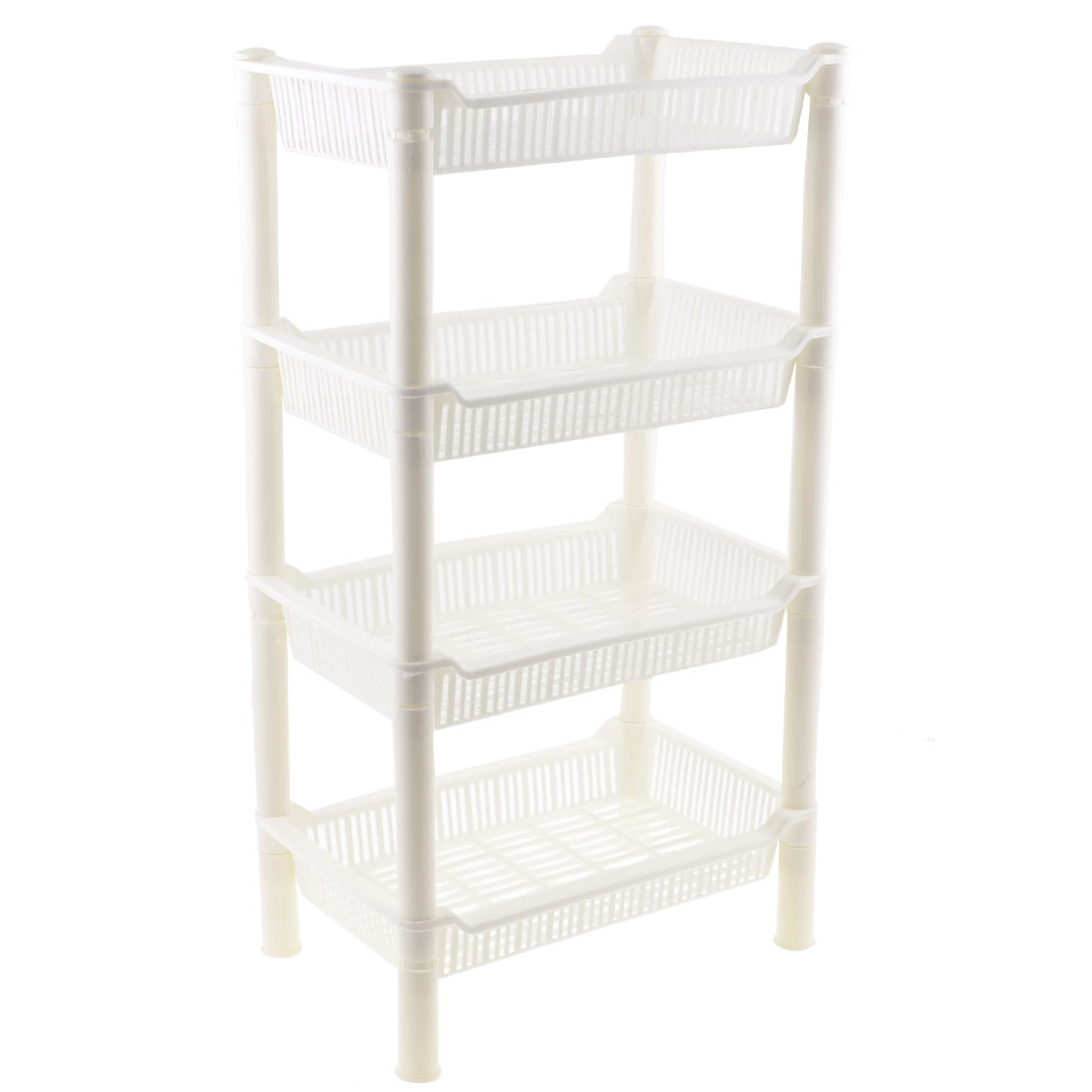 50cm High Detachable Rectangular 4 Layers White Plastic Mini Storage Shelf Rack