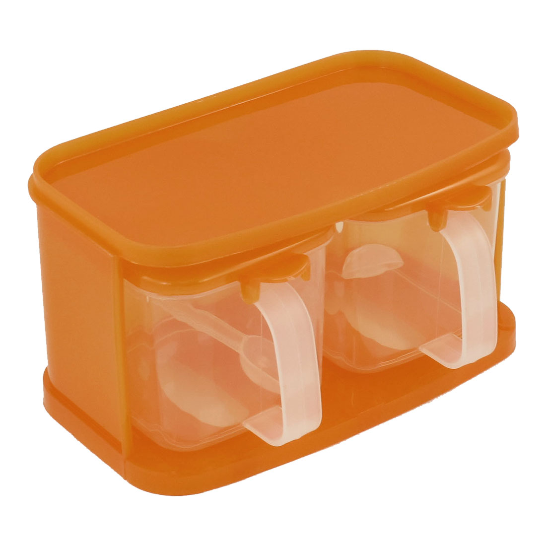 Kitchen Orange Clear Plastic Holder 2 in 1 Spices Dispenser Case Box Container