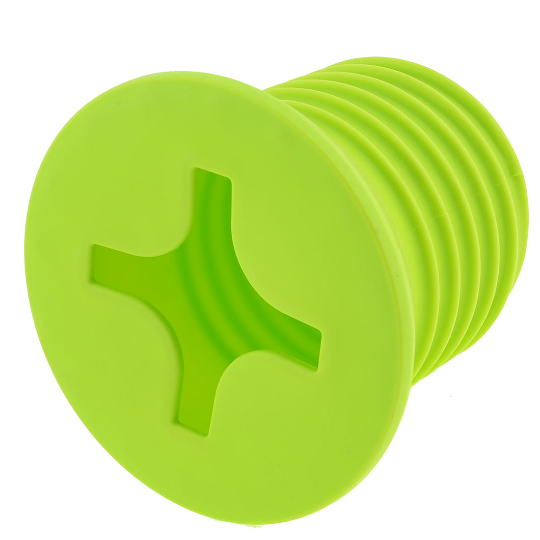 "6.3"" Height Yellow Green Screw Design Hard Plastic Tissue Box Container"