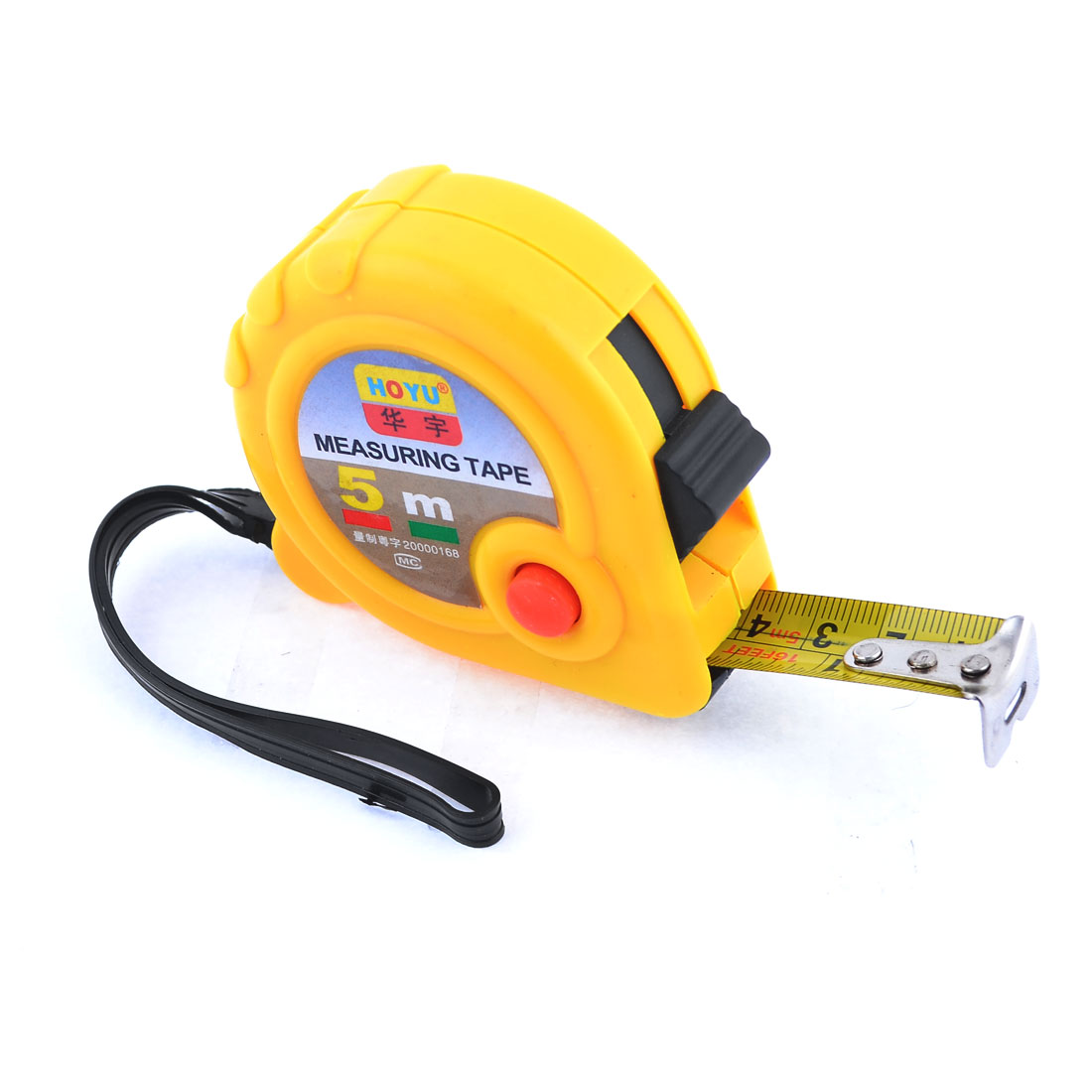 Yellow Case Dual Scale 5 Meters Pocket Steel Measuring Tape Bandtape