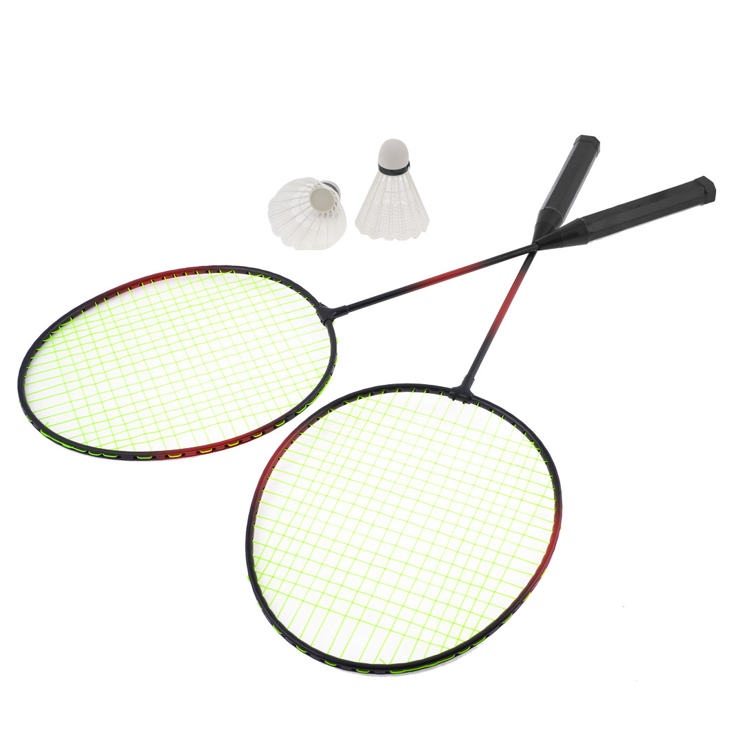 1 Pair Green String Sports Badminton Rackets Racquets w 2 Shuttlecocks