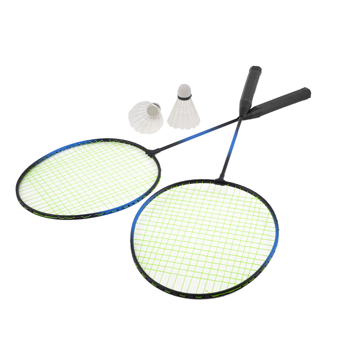 2 Pcs Green String Black Red Handle Sports Badminton Rackets Racquets w 2 Shuttlecocks