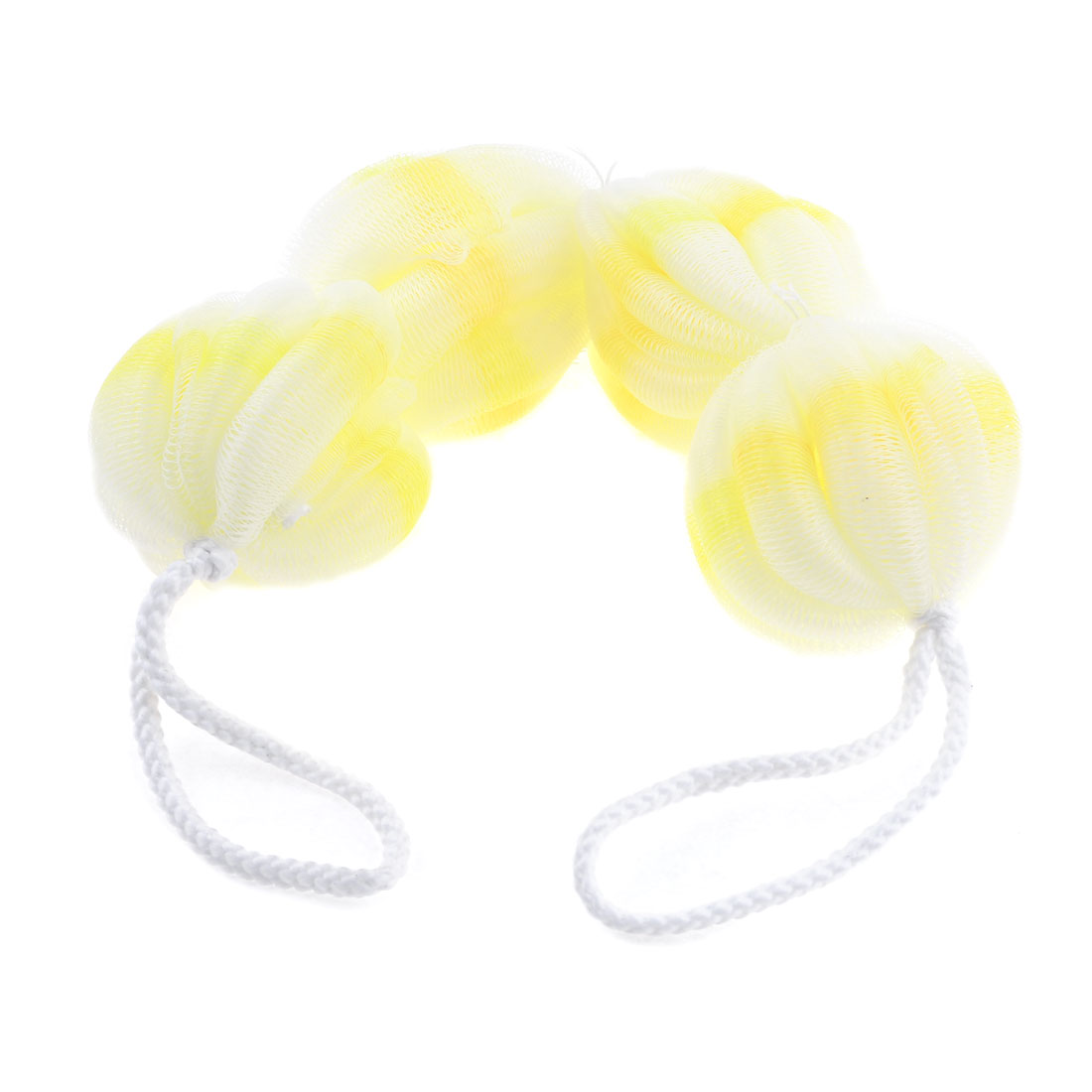 Double Hanging Hoops Four Oval Ball Shaped Mesh Bath Shower Pouf Yellow White