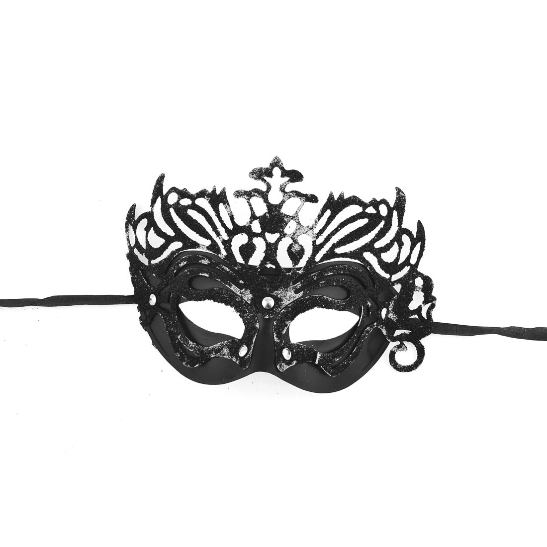 Woman Black Carnival Masquerade Party Costume Glitter Powder Mask