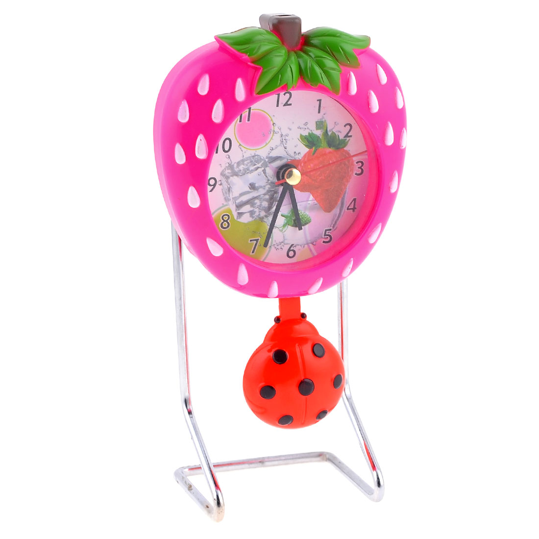 Desk Table Fuchsia Strawberry Shaped Clock w Red Beetle Pendant