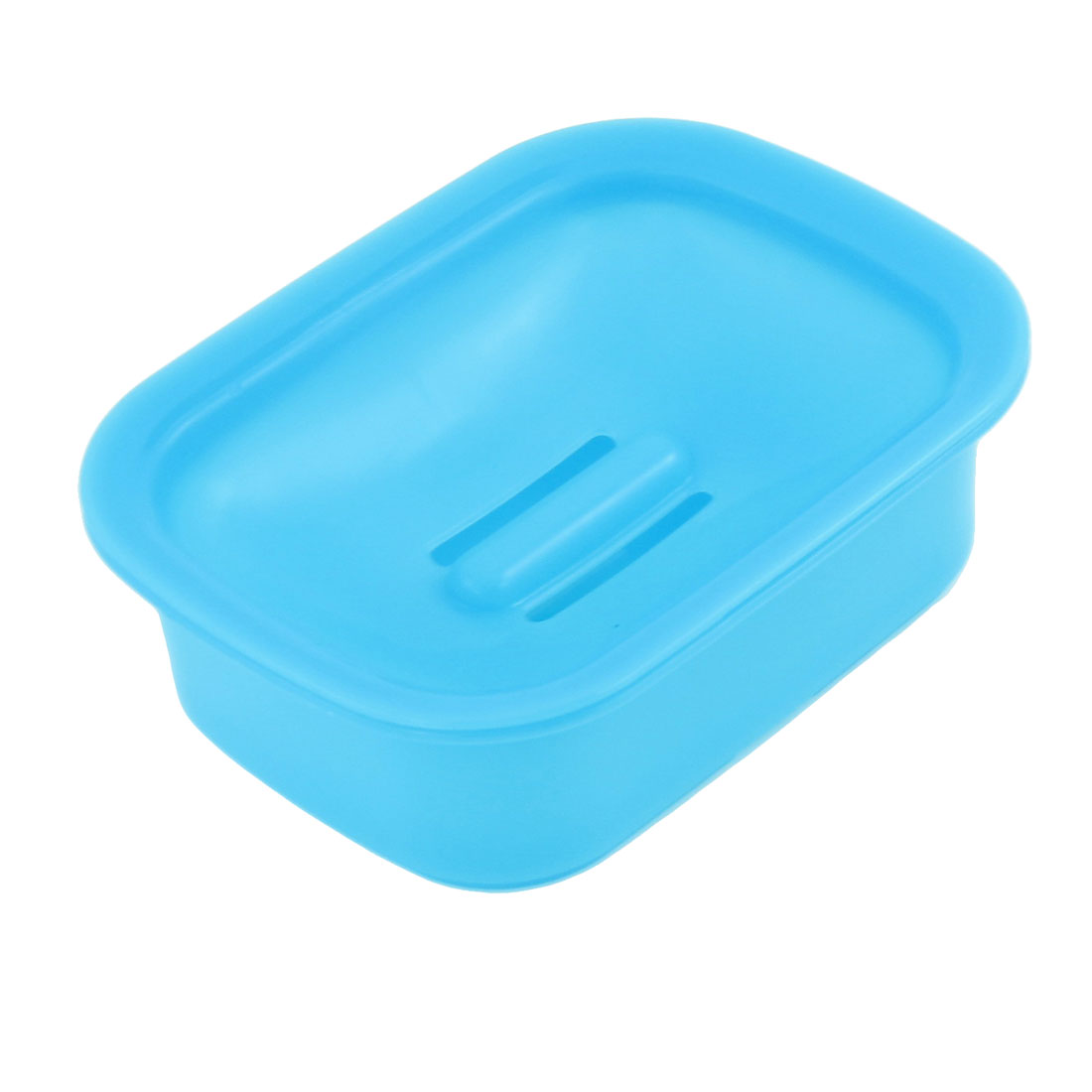 13.5cm x 10.4cm Blue Plastic Hollow Out Bottom Soap Container Case Holder