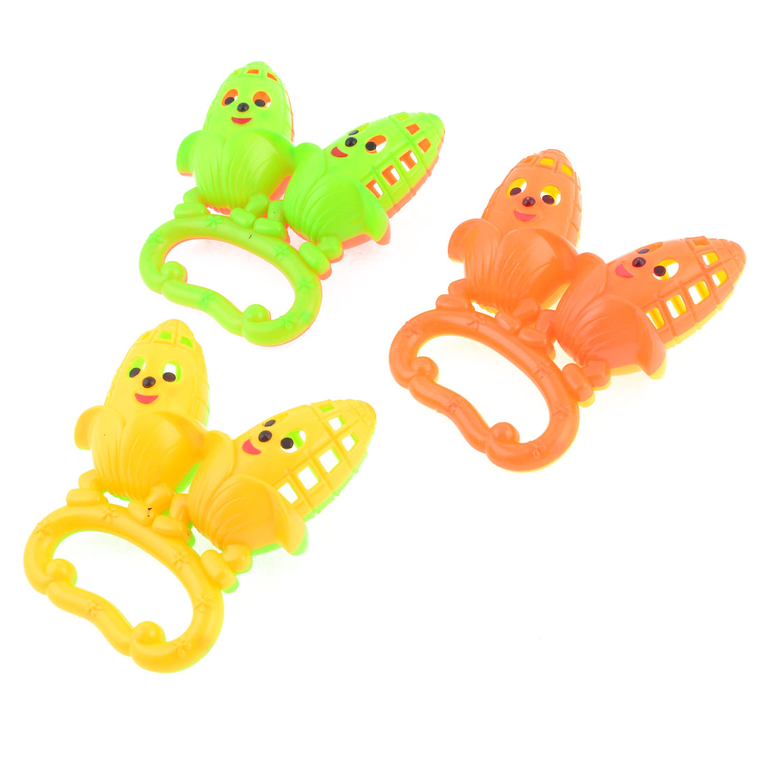 Child 3 Pcs Assorted Color Plastic Corn Shape Rattling Toy