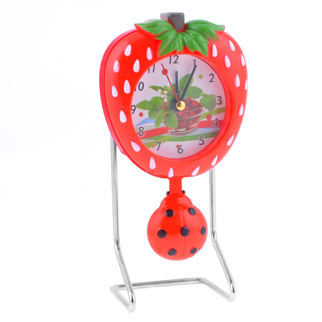 Desk Silver Tone Red Strawberry Shape Clock w Dangling Pendant