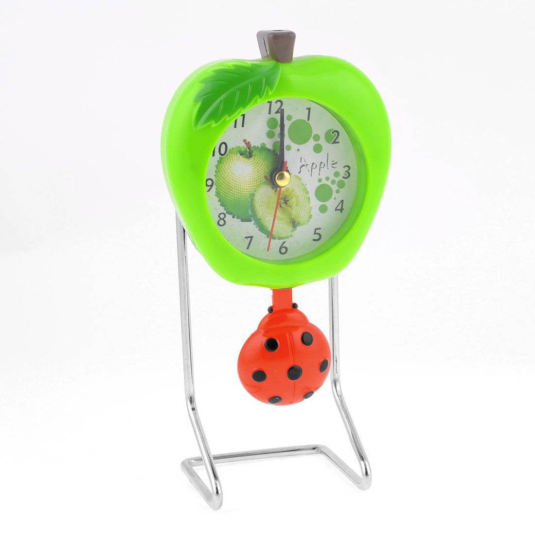 Desk Silver Tone Green Apple Shape Clock w Dangling Pendant