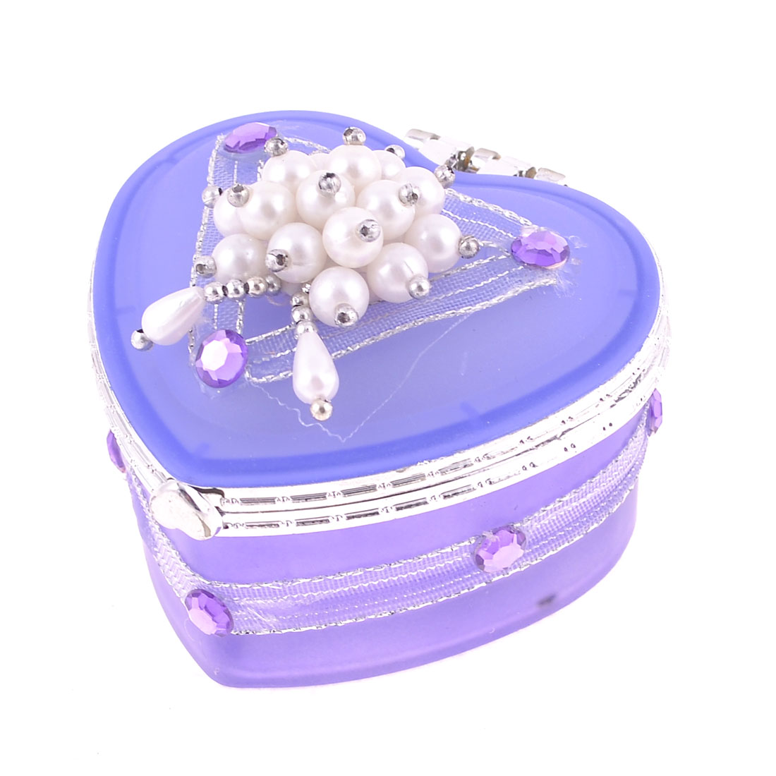 Faux Beads Decoration Flip Cap Heart Shape Purple Jewelry Box
