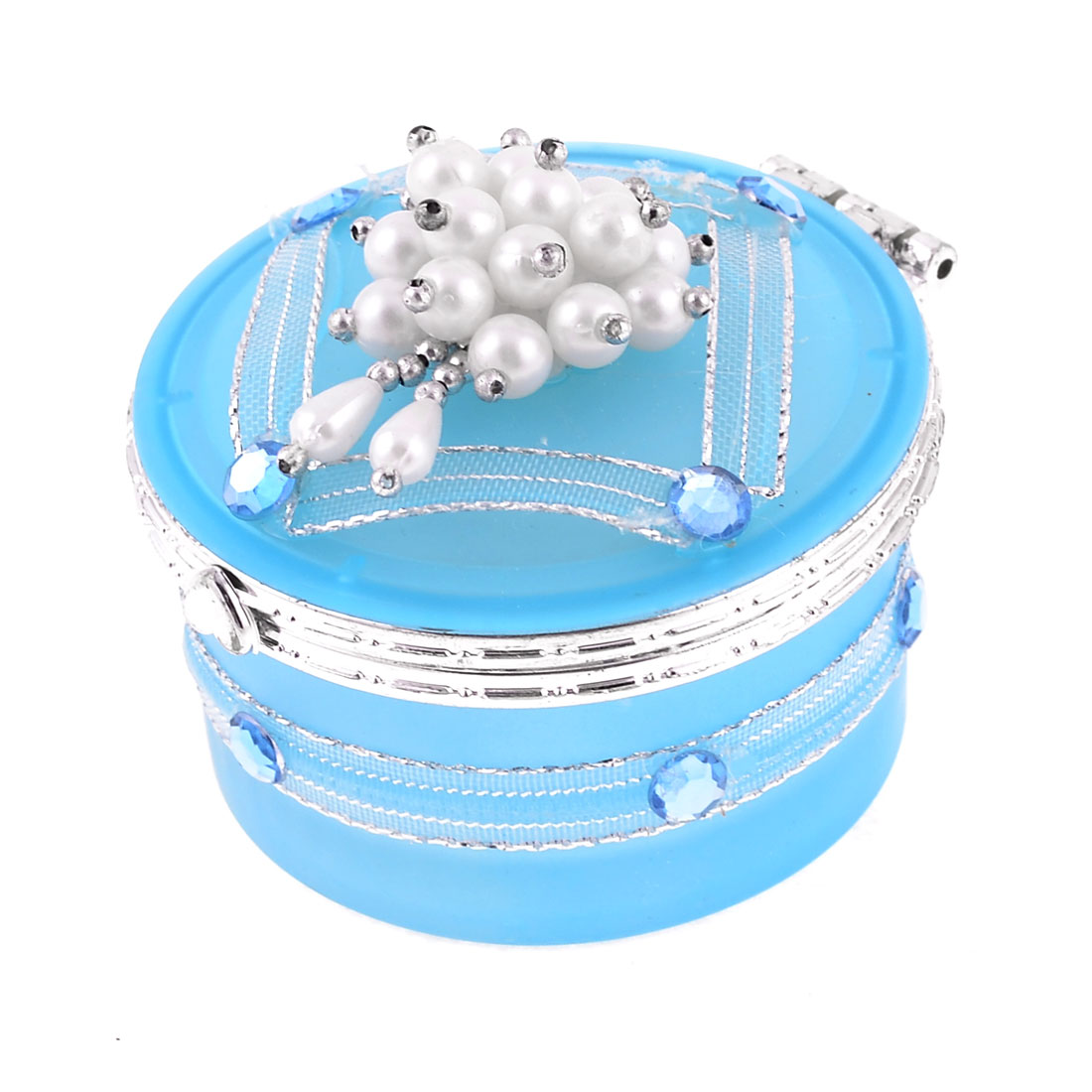 Faux Beads Decor Centering Flip Cap Cylinder Shape Babyblue Glass Jewelry Box
