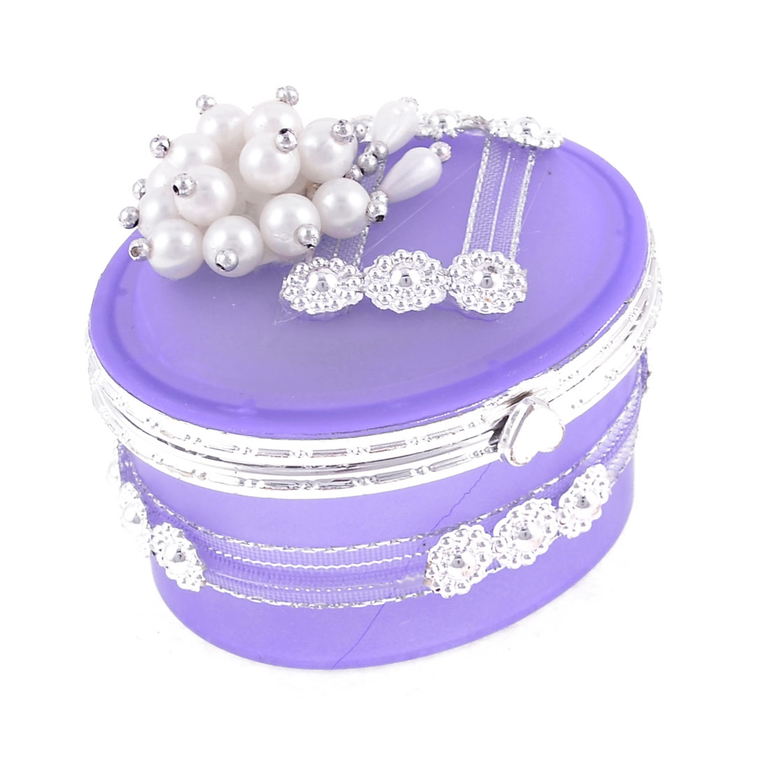 Tinsel Flower Surrounded Faux Beads Decor Flip Cap Oval Shape Purple Jewelry Box