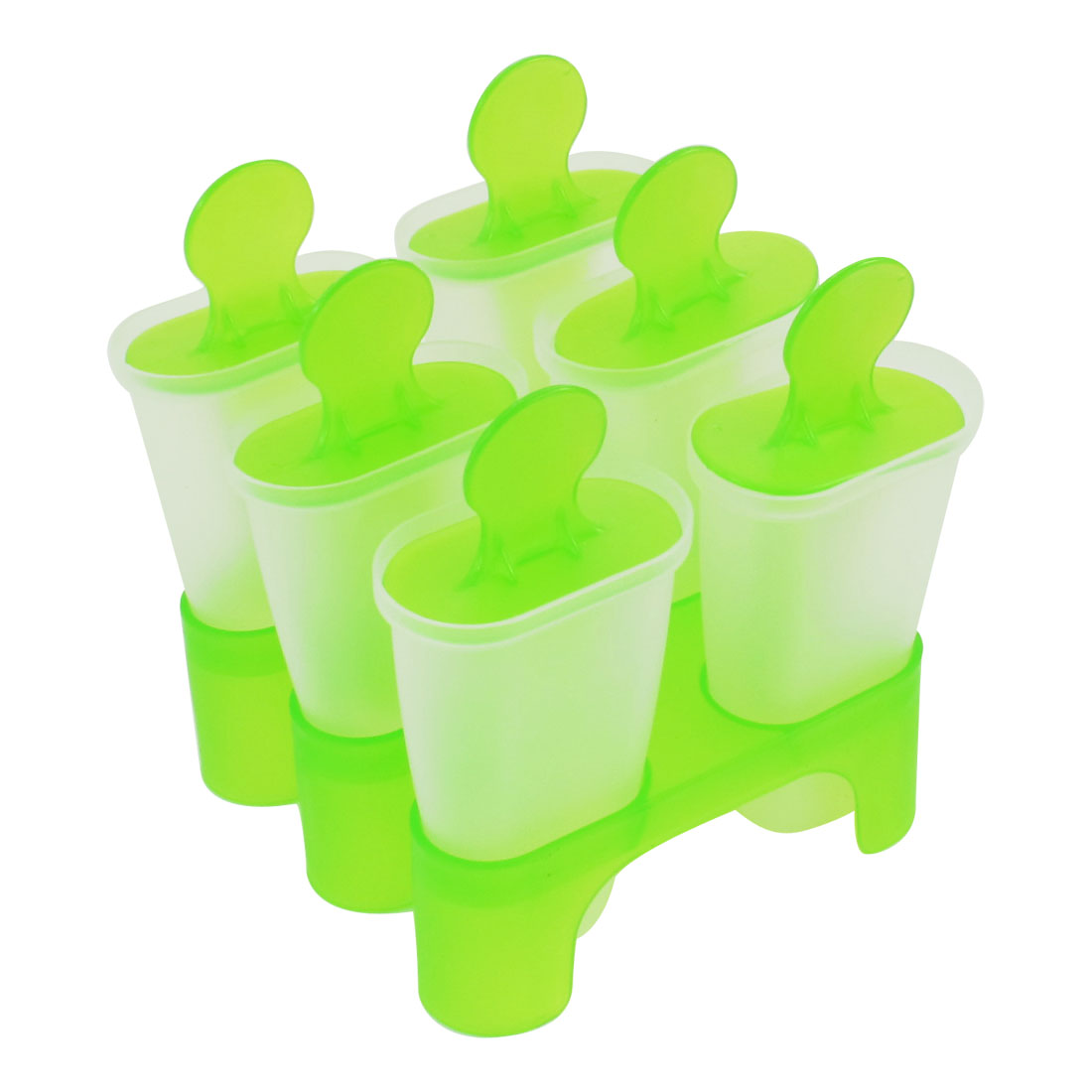 Apple Green Clear 6 in 1 Plastic Portable DIY Ice Cream Popsicle Making Moulds