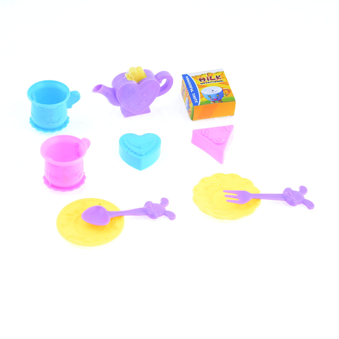 Child Plastic Scoop Cup Saucer Kitchenware Cooker Play Toy Set 10 in 1