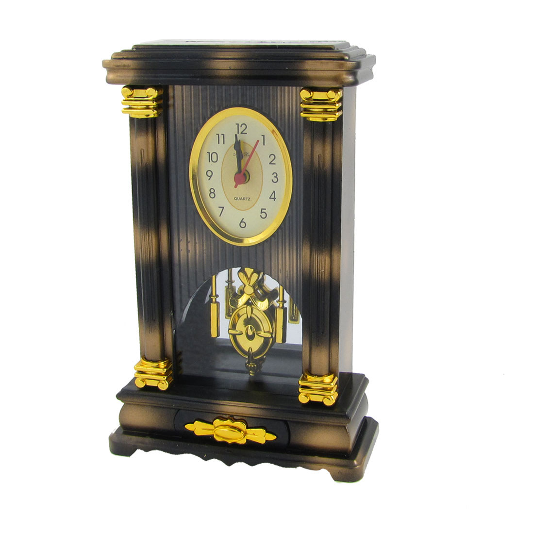 19cm Height Arabic Number Round Dial Desk Table Clock Black Beige