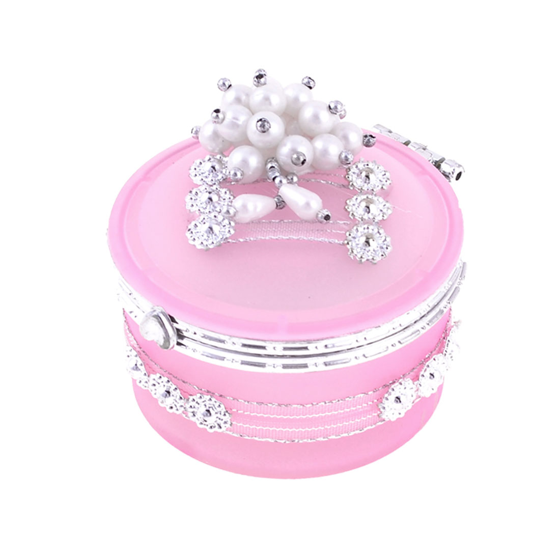 Flower Shape Faux Beads Decor Flip Cap Cylinder Shape Pink Glass Jewelry Box