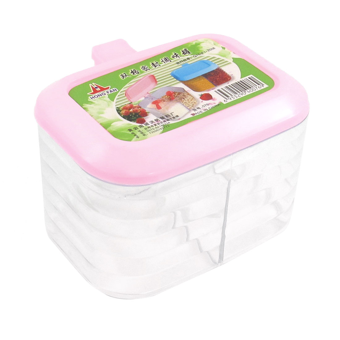 Pink Plastic Lip Sauce Pepper Salt Spices 2 Slots Clear Box Holder Organizer