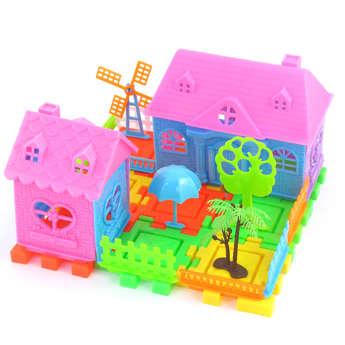Intelligence Developing Windmill Tree Fence Building Block Bricks for Kid