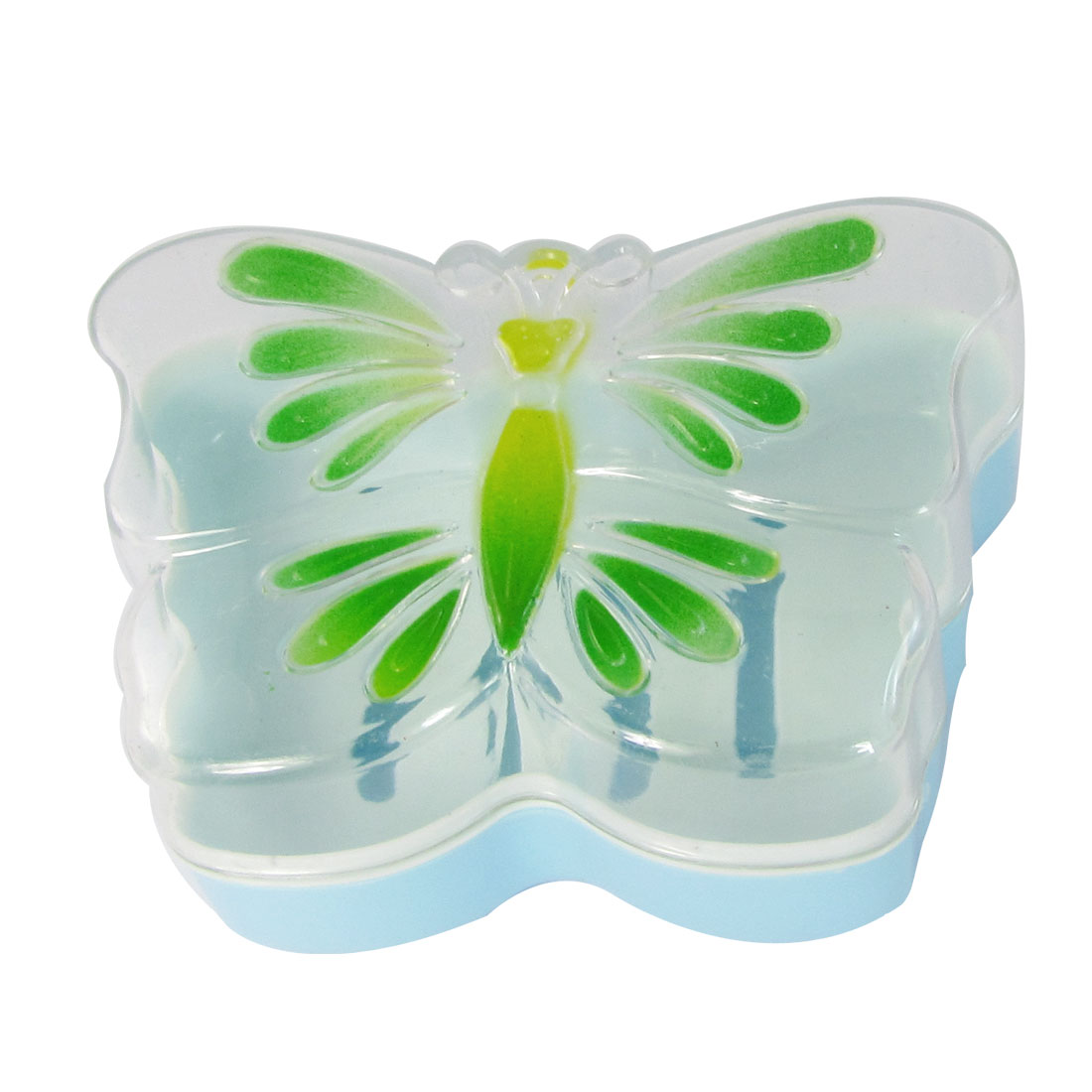 Butterfly Print Plastic Clear Cover Light Blue Double Decks Soap Container Case