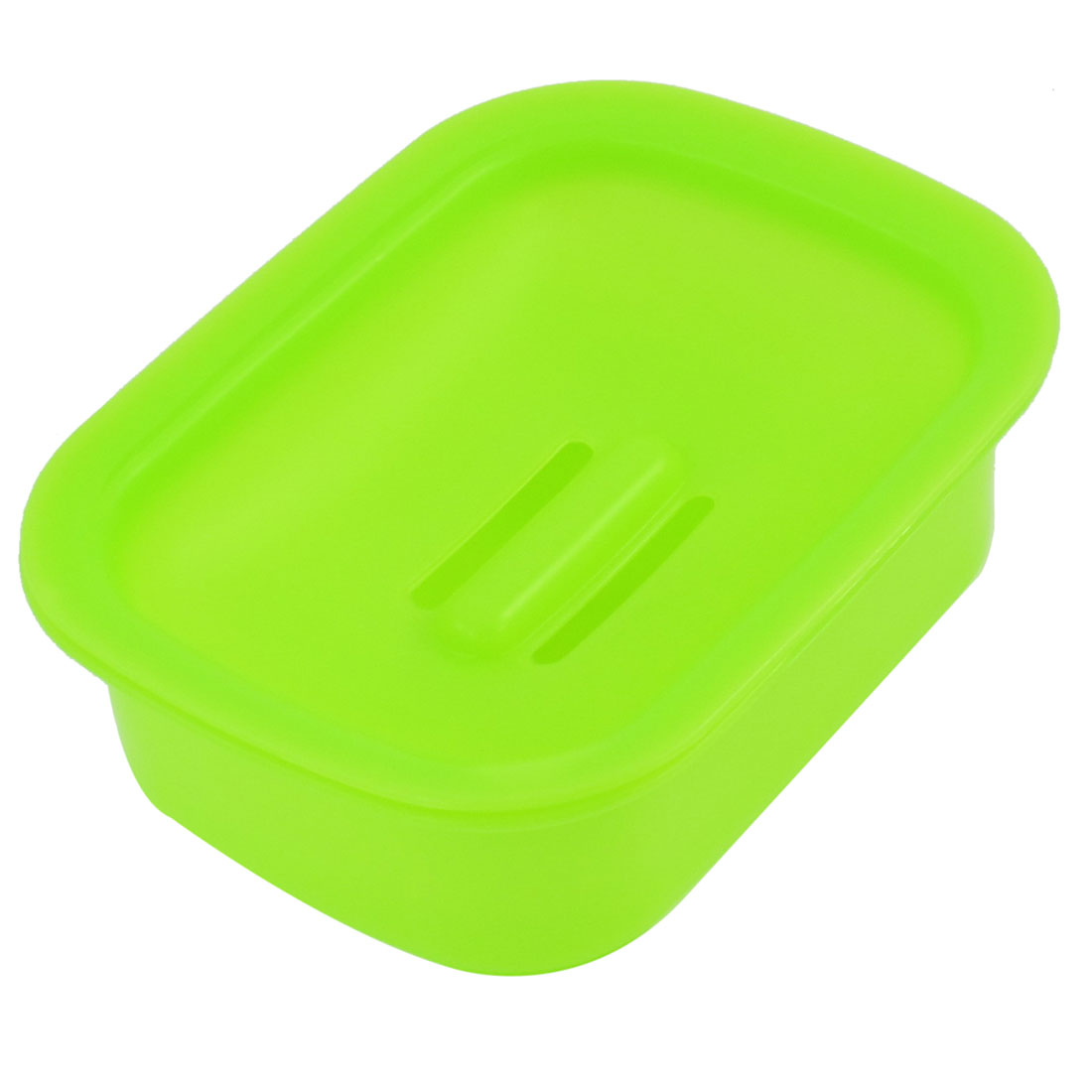 "5.3"" x 4.1"" Lime Plastic Hollow Out Bottom Soap Container Case Box Holder"