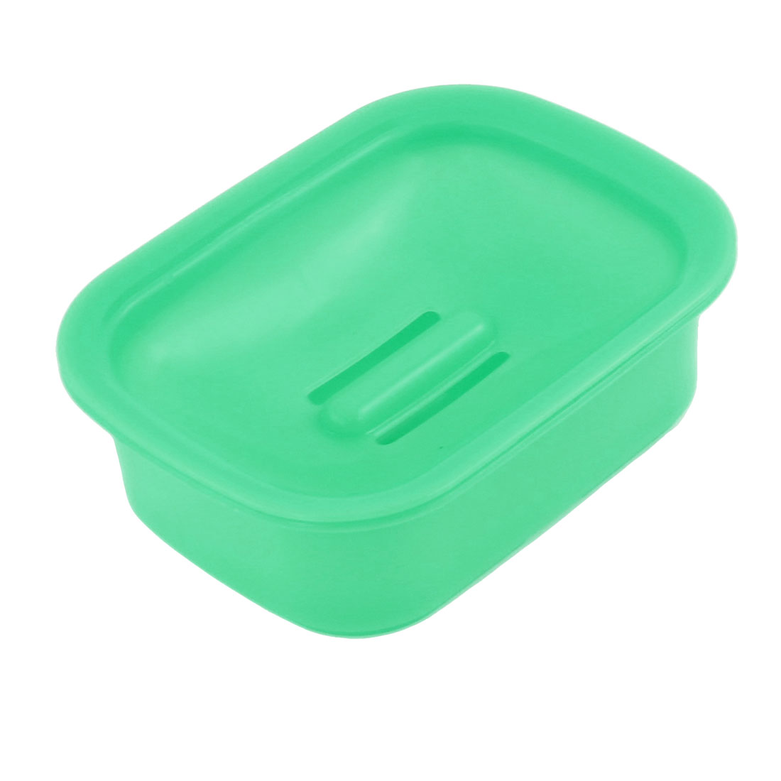 Green Hard Plastic Rectangle Soap Dish Tray Holder Box Case for Bathroom