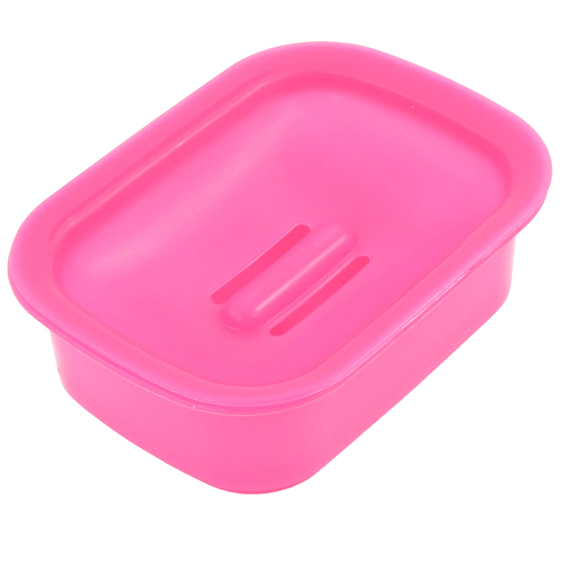 Home Portable Rectangle Shaped Solid Fuchsia Plastic Soap Holder Vessel Dish