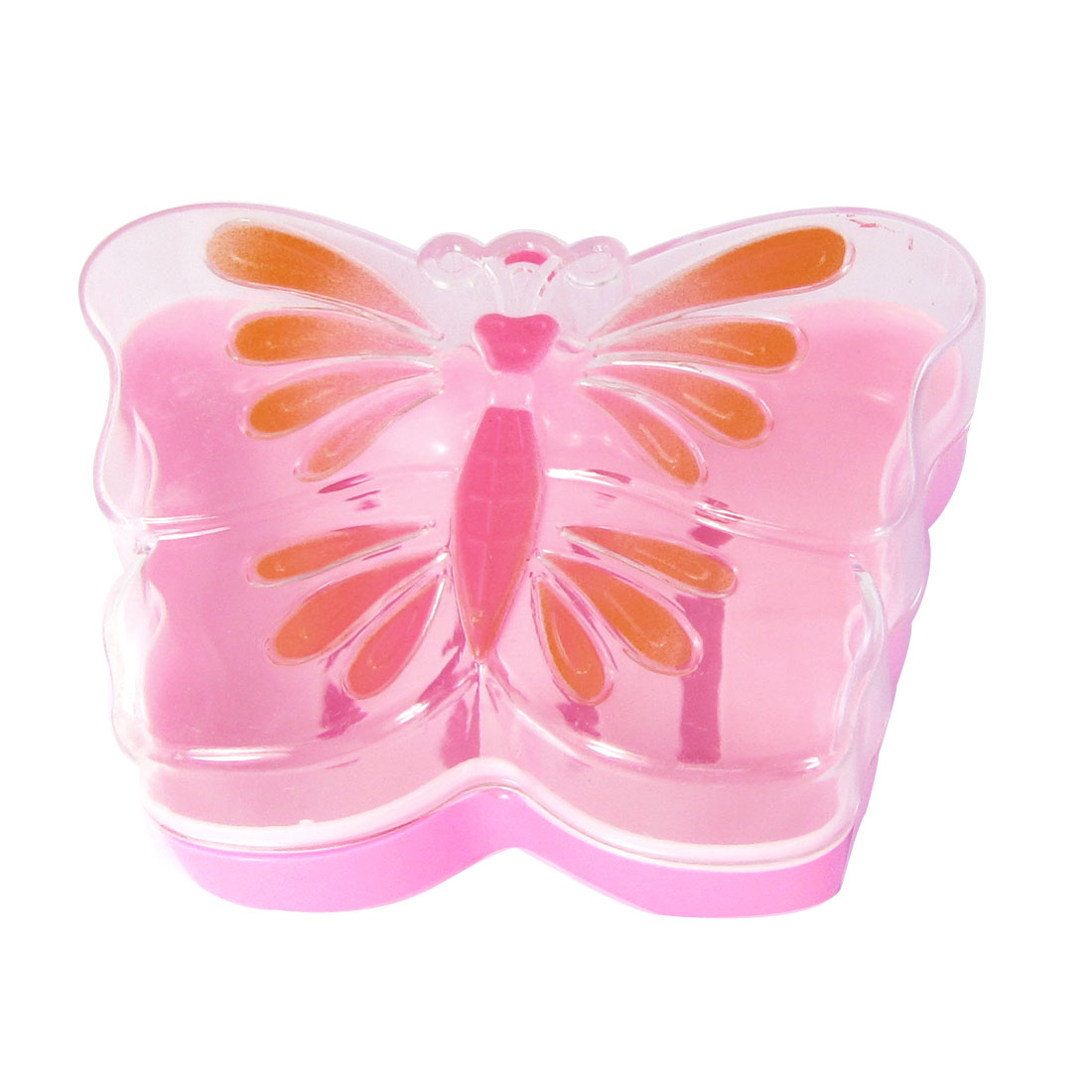 Home Pink Clear Plastic Cut Out Bottom Butterfly Shape Soap Case Box Holder Dish