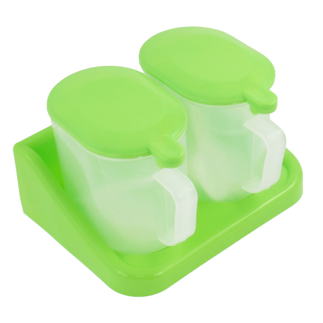 Kitchen Apple Green Clear Plastic Holder 2 in 1 Spices Dispenser Case Container