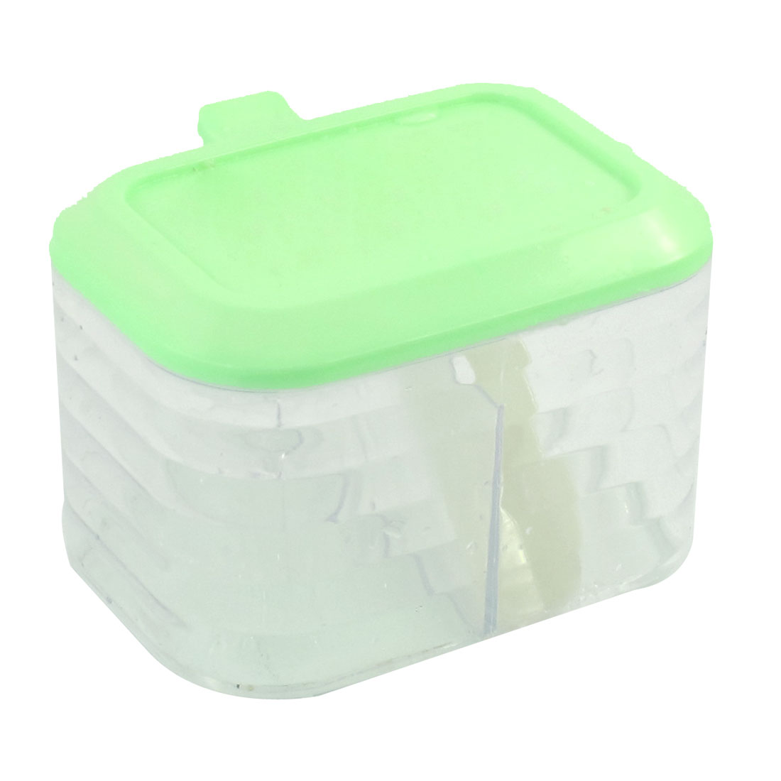 "3.1"" High 2 Compartments Seasoning Condiment Box Holder Pale Green Clear w Spoon"