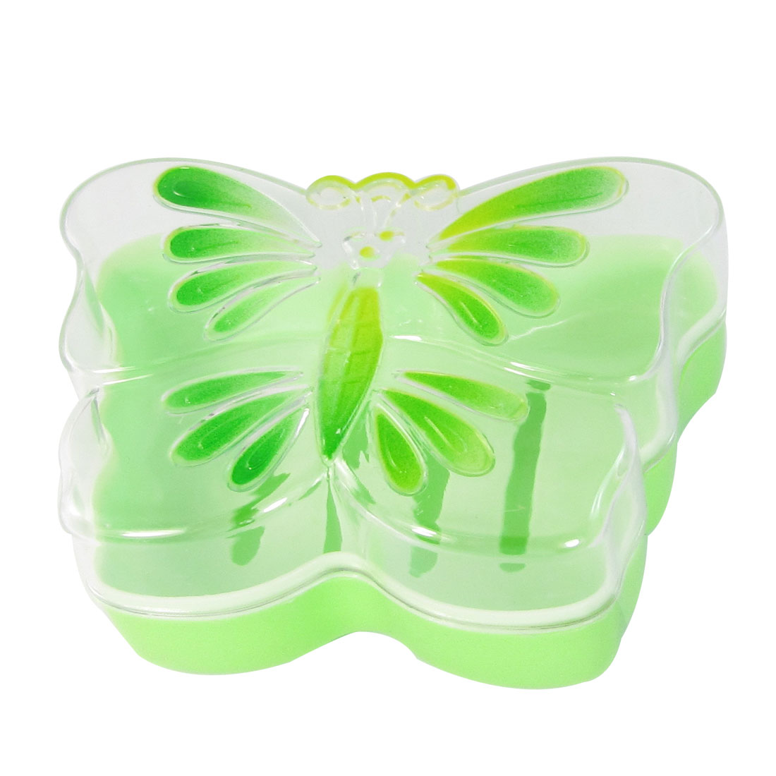 Bathroom Pale Green Plastic Butterfly Design Dual Decks Soap Dish Tray Holder
