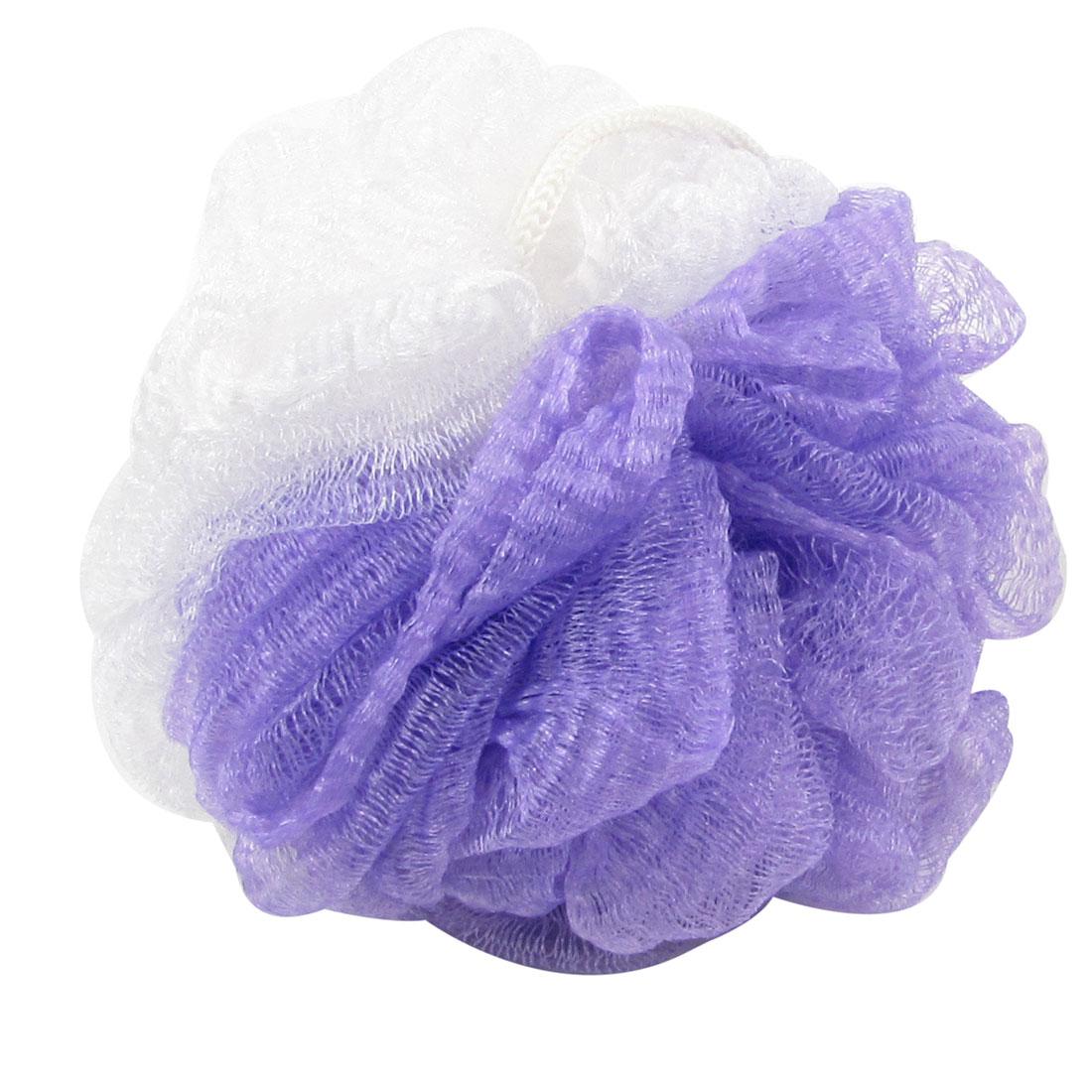 "4.3"" Dia Foam Puff Bath Shower Pouf Body Scrubber Cleaner Purple White w Strap"