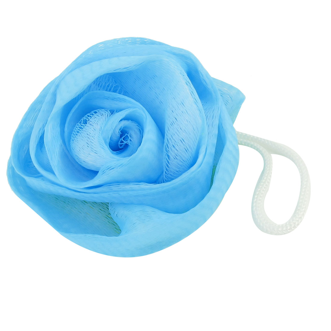 "3.3"" Dia Blue Green Nylon Rose Design Foam Bubbles Bath Shower Pouf w Strap"