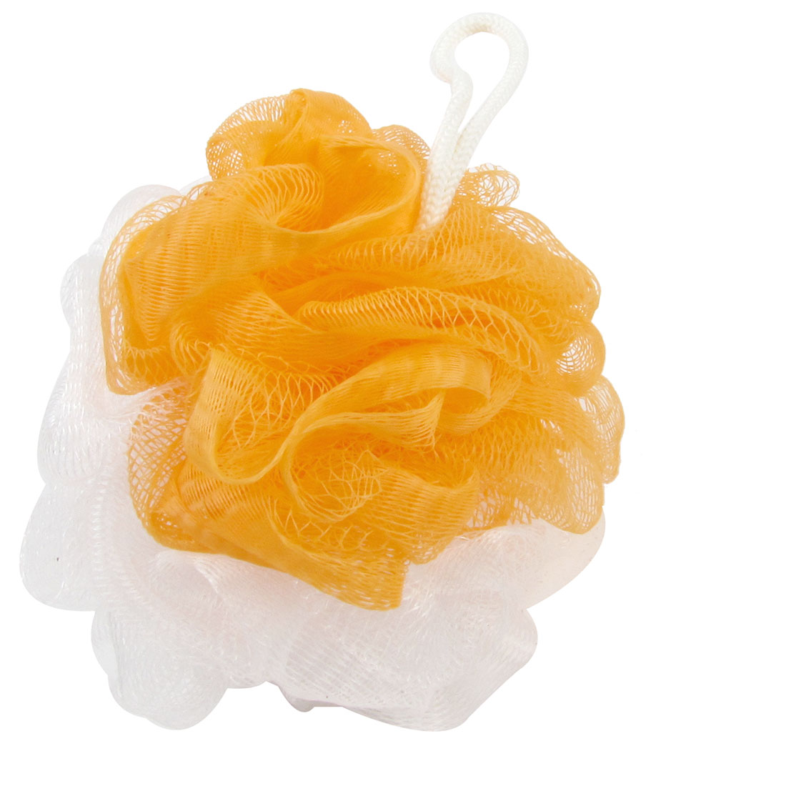 Orange White Nylon Bath Lather Scrubber Shower Pouf Body Cleaner Scrubbing Tool