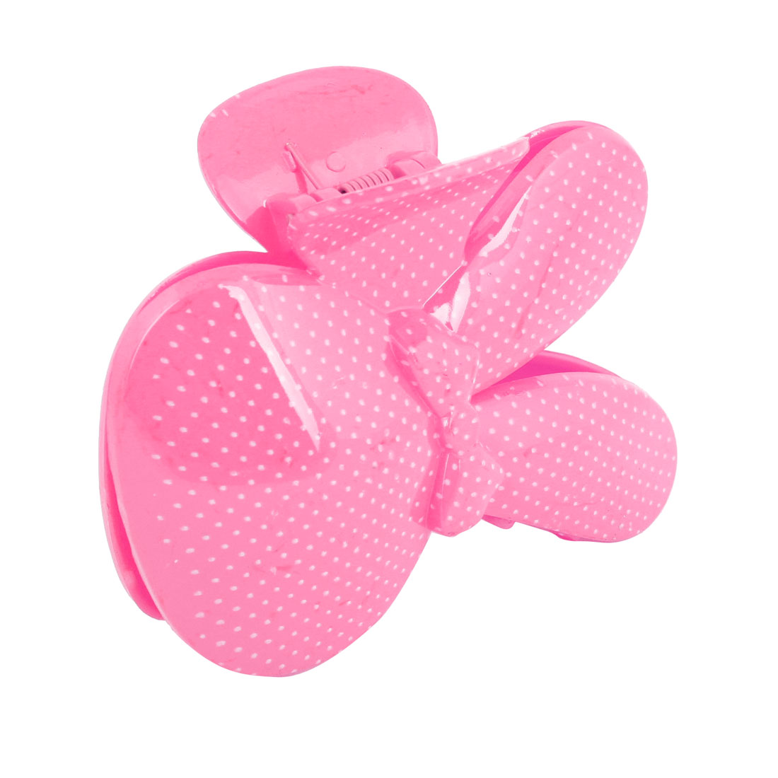 Pink White Dot Rabbit Shaped Plastic Hair Claw Decoration