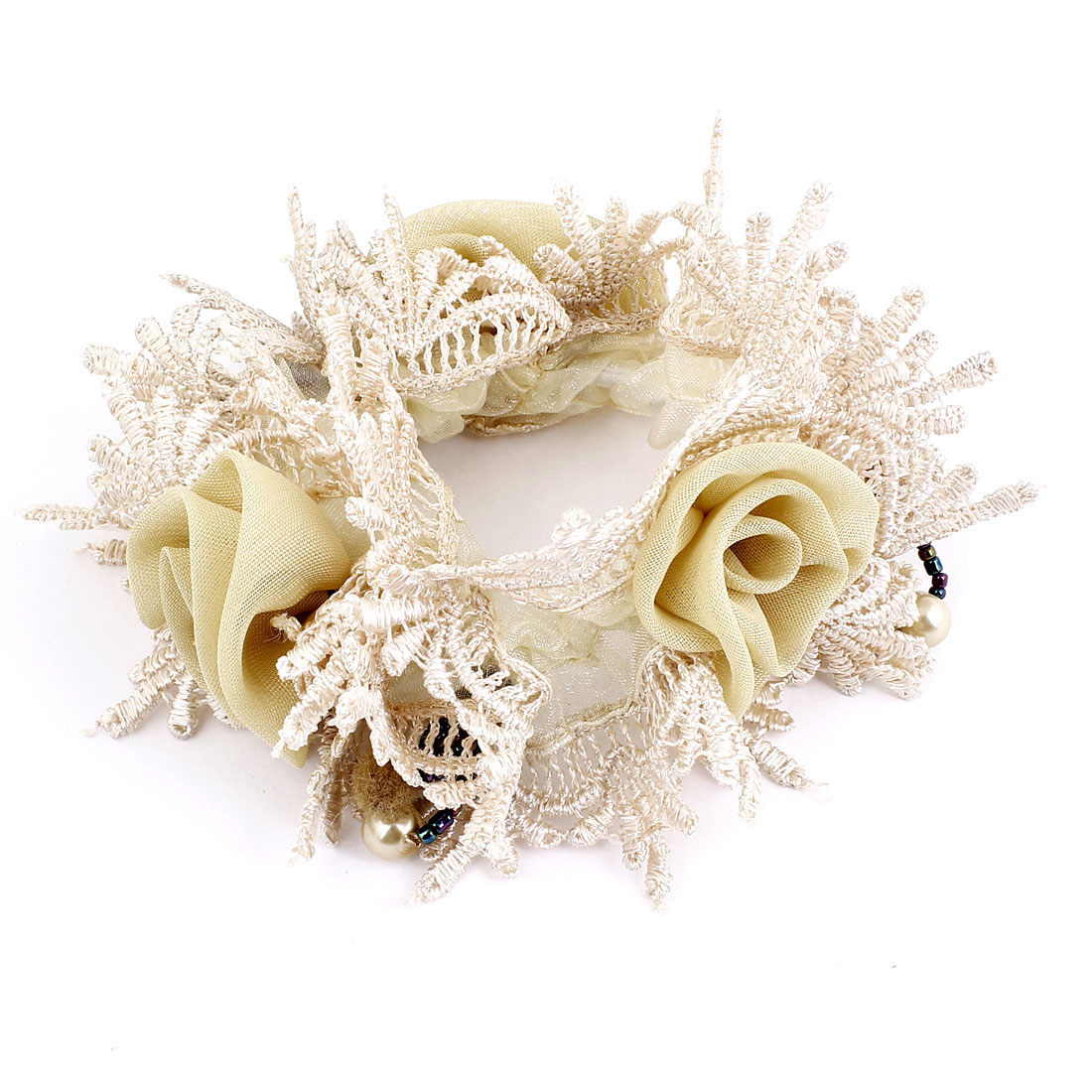 Pale Apricot Beige Flowers Decor Elastic Ponytail Holder for Lady
