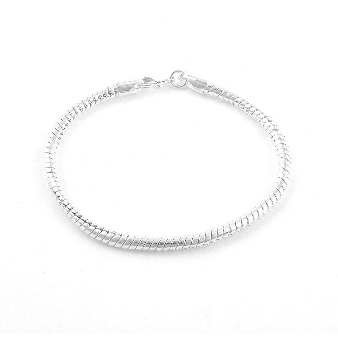 Lady Silver Plated Snake Pattern Wrist Bangle Bracelet