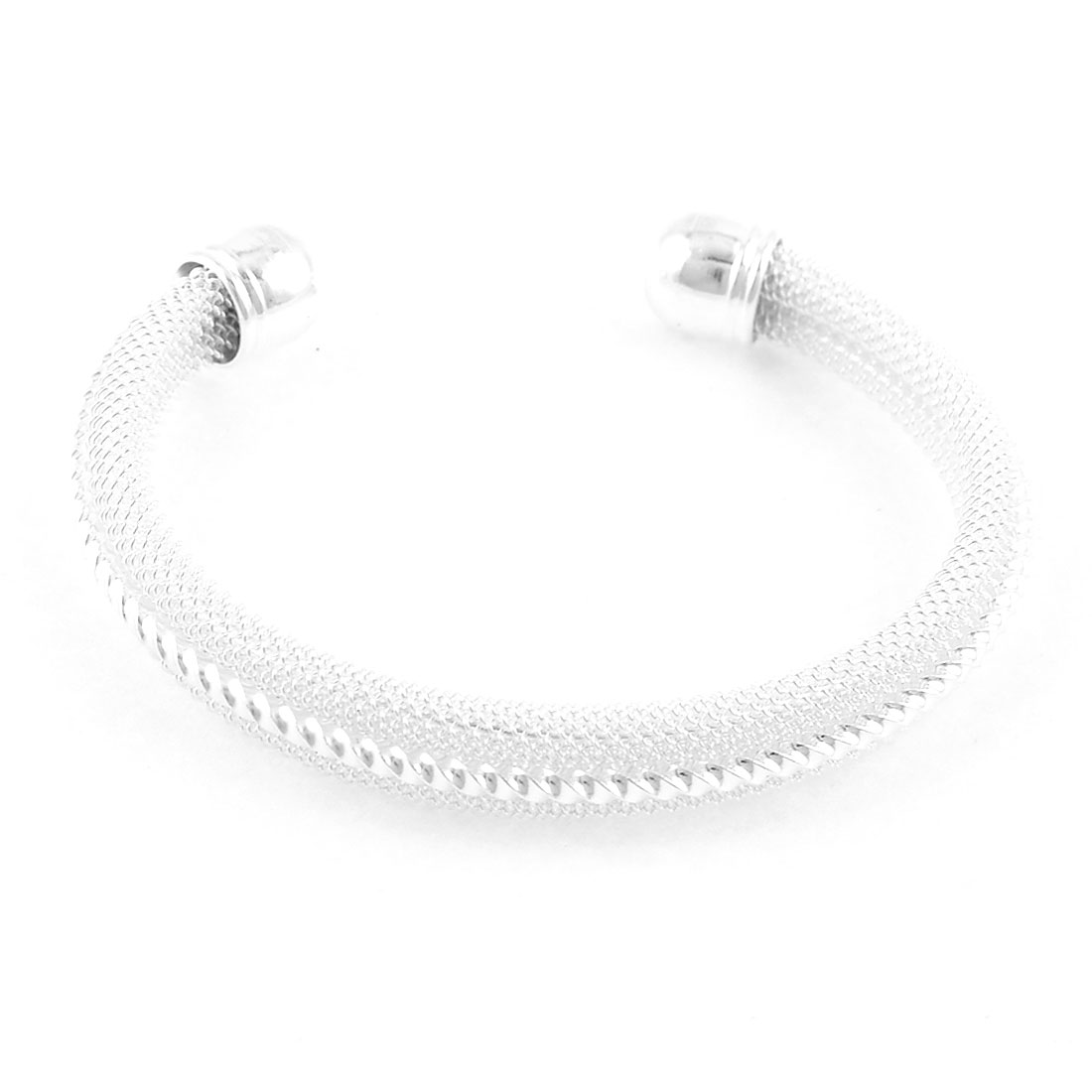 Silver Plated Glitter Twisted Bracelet Bangle for Girl