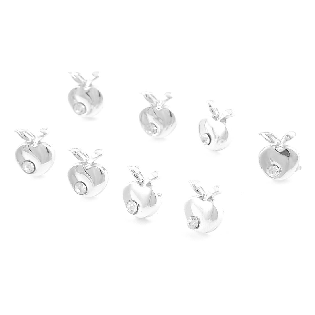 4 Pair Rhinestone Inlaid Apple Decor Stud Earrings for Women