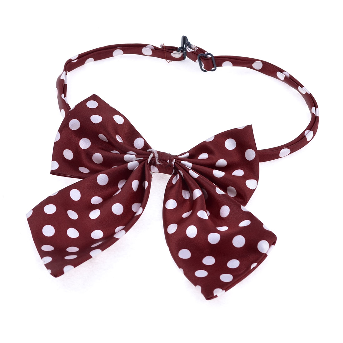 Lady Dots Print Dress Pre-tie Regulable Neckwear Bow Tie Necktie Burgundy