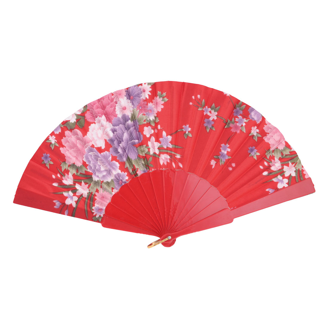 Peony Printed Foldable Hand Shaking Fan Red Light Purple for Woman