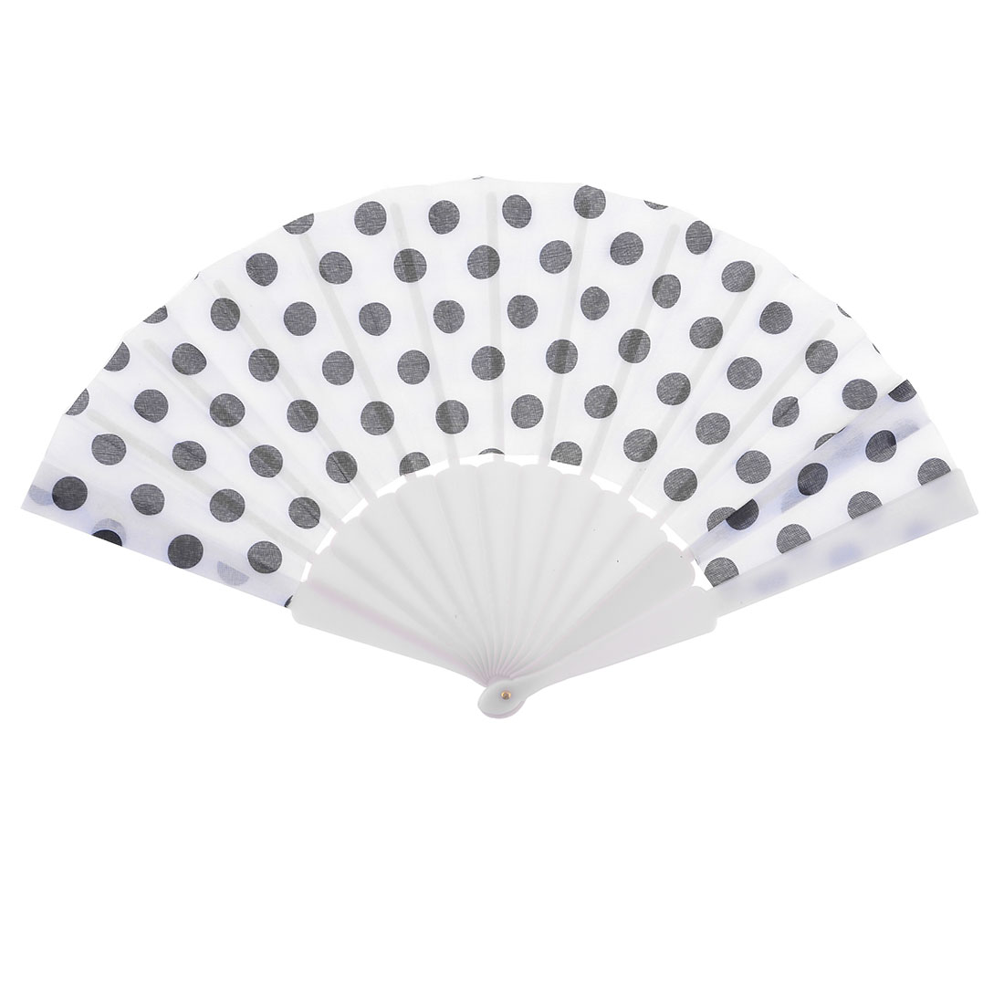 White Plastic Ribs Dots Print Folding Hand Fan for Lady