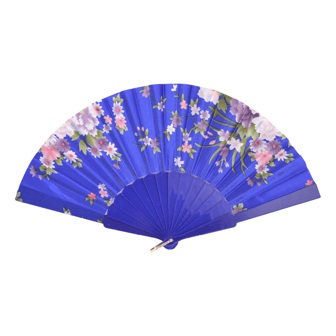 Peony Print Metal Hanging Ring Foldable Hand Fan Blue