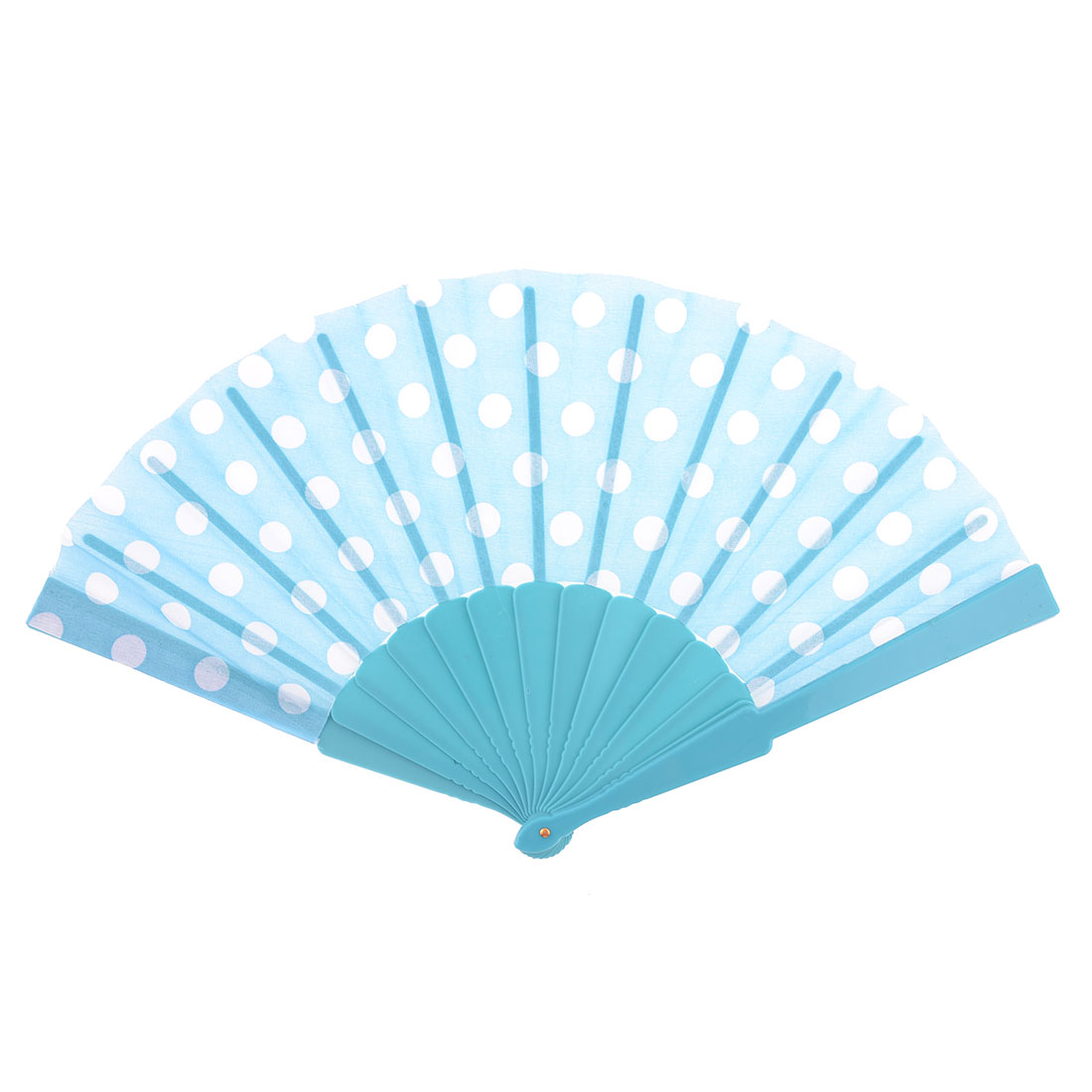 Women Dancing Dots Pattern Folding Hand Shaking Fan Aquamarine