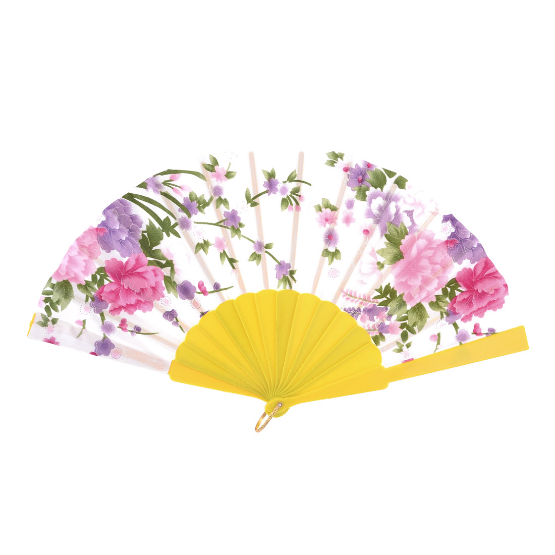Peony Pattern Chinese Tradition Folding Hand Fan White Yellow